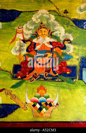 Tibetan art, wall painting, Protector of the East, Yumbu Lakang Palace, First Palace, Buddhist monastery, Tibet - Stock Photo