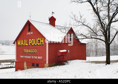 Red Mail Pouch Barn and New Snow Lanesville Indiana - Stock Photo