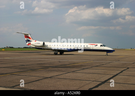 Embraer EMB 145 regional jet commuter aircraft - Stock Photo