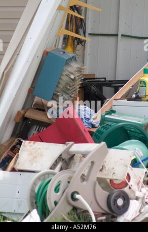 Hurricane Charlie damage Punta Gorda Florida mobile home park trailer parks destroyed destruction storm loss weather - Stock Photo