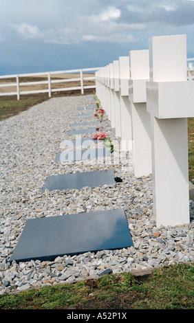 Argentine Military Cemetery (Cementerio de Darwin), Darwin, East Falkland, Falkland Islands, South Atlantic - Stock Photo