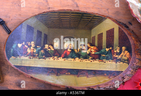 Picture of the Last Supper painted on wood for sale at flea market. Battle Lake Minnesota USA - Stock Photo