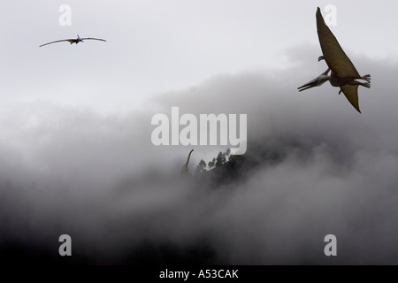 Pteranodon Brachiosaurier - Stock Photo