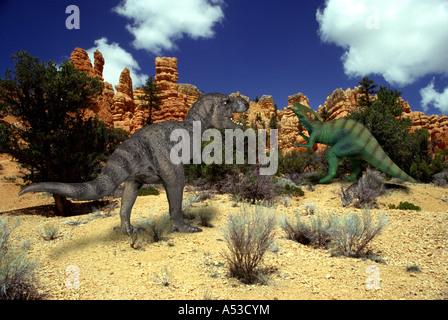 Tyrannosaurus Parasaurolophus - Stock Photo