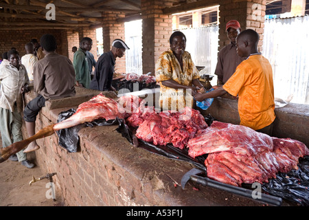 Beef on the butchers stall at the Saturday market in the village of Nkhoma Malawi Africa - Stock Photo