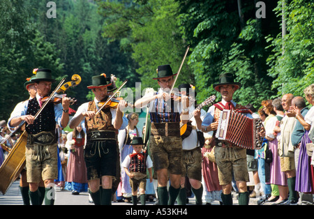 Traditional music at the daffodil festival on the Grundl lake Styria Austria - Stock Photo