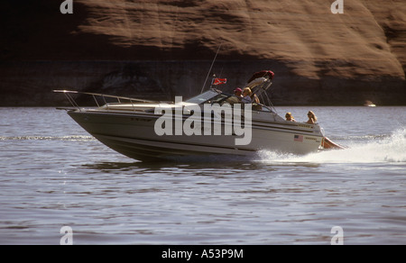 Motor Boat Crusing On The Manmade Lake Powell,In Utah USA. - Stock Photo