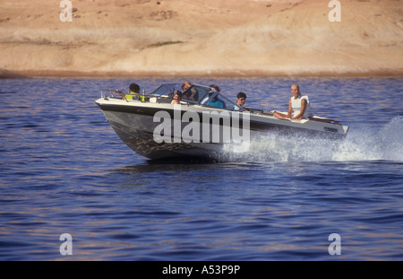 Motor Boat Crusing On The Manmade Lake Powell,In Utah USA. - Stock Photo