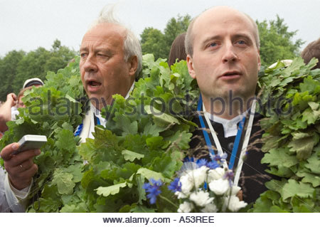2004 traditional song festival Tallinn Estonia Europe father and son conductors Neeme Järvi left and Paavo Järvi - Stock Photo