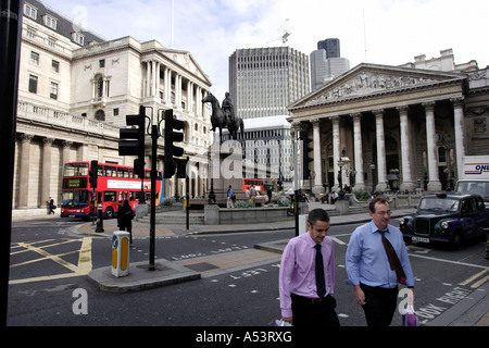 Bank of England and the Royal Exchange in the financial district, London, Great Britain - Stock Photo