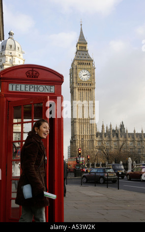 Big Ben and a red telephone box, London, Great Britain - Stock Photo