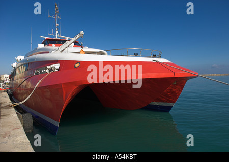 Flying Cat 4 Hellenic Seaways fast catamaran ferry moored at Greek Island of Crete - Stock Photo