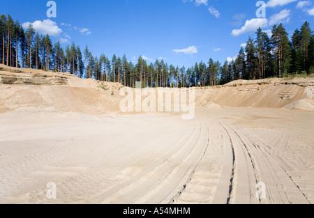 Fine sand in a sandpit on a sandy ridge / esker  , Finland - Stock Photo