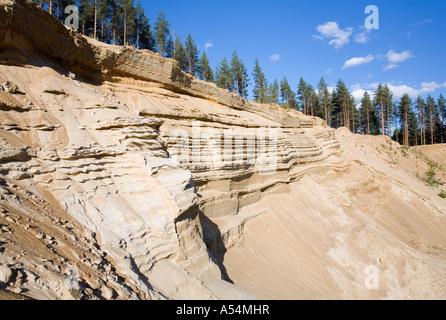 soil erosion on a sandy ridge , glacial esker , Finland - Stock Photo