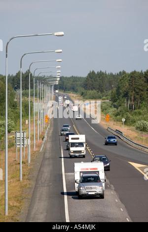 Summertime traffic on Finnish highway , Finland - Stock Photo
