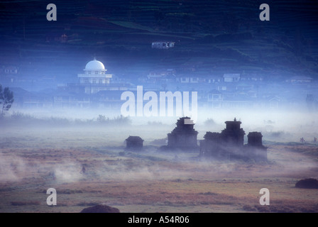 Ancient stone alters at Dieng Plateau in Central Java Indonesia - Stock Photo
