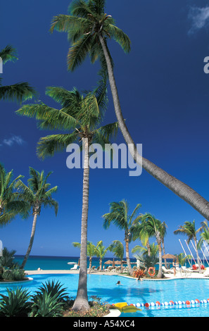 St Kitts and Nevis Nevis Four Seasons Hotel Swimming Pool - Stock Photo