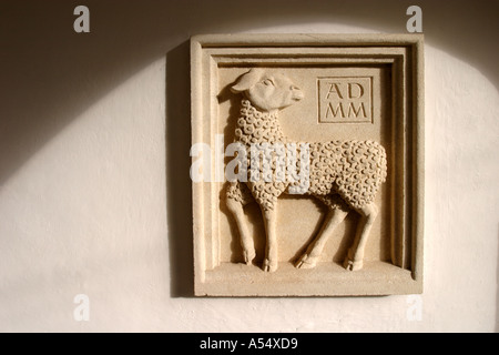 Relief sculpture to celebrate the Millennium year AD 2000 - Stock Photo