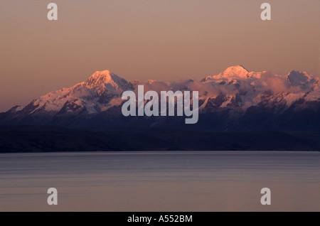 Mts Illampu (L) and Ancohuma (R) at sunset seen from Moon Island / Isla de la Luna, Cordillera Real, Lake Titicaca, - Stock Photo