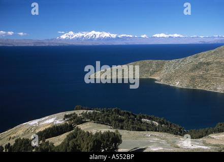 View towards Cordillera Real from Sun Island, Lake Titicaca, Bolivia - Stock Photo