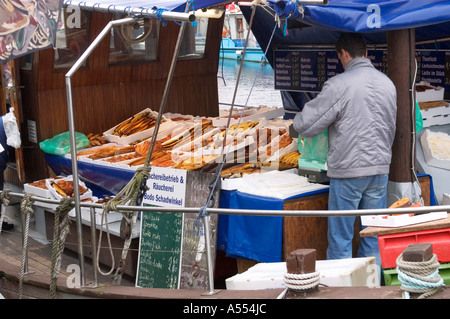 Wismar Mecklenburg Vorpommern Germany fish seller at the harbour - Stock Photo