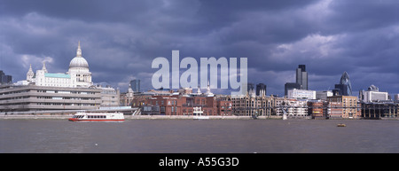 Panoramic view of the City of London Skyline and St Paul's Cathedral. - Stock Photo
