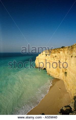 Elevated view of Praia De Centianes, near Carvoeiro, Algarve, Portugal - Stock Photo
