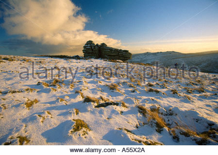 Crow Tor in winter, Dartmoor National Park, Devon, South West England UK - Stock Photo