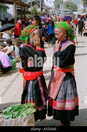 Hmong women at the market in BacHa Northern Vietnam - Stock Photo