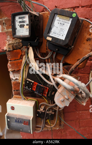 electricity fuse boxes and meters requiring repair uk a562rk old electrical switches and fuse boxes stock photo, royalty free Circuit Breaker Box at mifinder.co