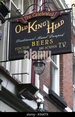 Pub sign Old Kings Head Kings Head Yard London SE1 Southwark. - Stock Photo