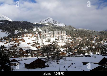 Swiss town of Les Diablerets, Canton Vaud, Switzerland - Stock Photo