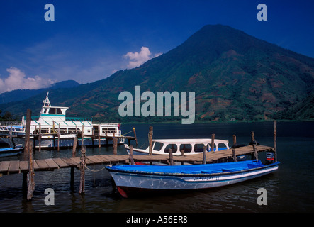 boats at dock, ferryboat service, town of Santiago Atitlan, San Pedro Volcano in the background, Solola Department, - Stock Photo