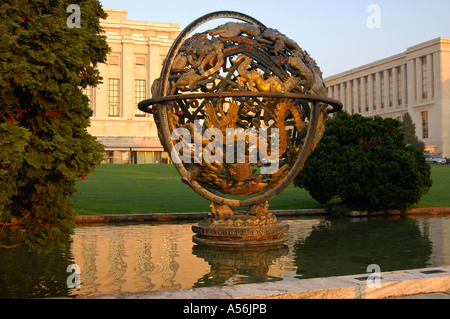Wilson globe UN headquarters Geneva Switzerland - Stock Photo