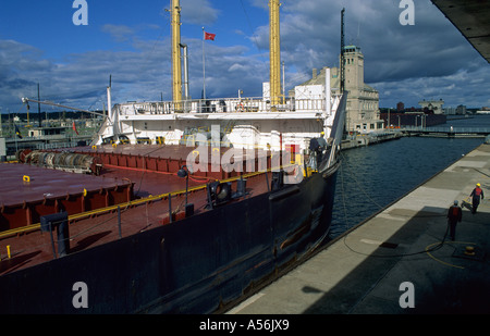 Ship in the the Soo locks at Sault Sainte Marie between Lake Superior and Lake Huron, Michigan, USA - Stock Photo