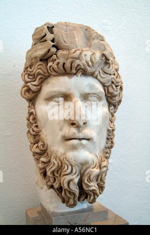 Statue of the Emperor Lucius Verus in the Bardo Museum, Tunis, Tunisia - Stock Photo