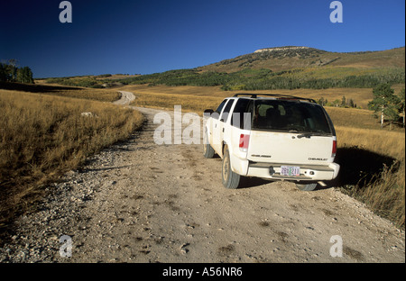 Fourwheel drive vehicle on the Skyline Drive, Wasatch Plateau - Stock Photo