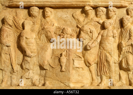 Carvings on the Arch of Septimus Severus, Leptis Magna Roman Ruins, Libya - Stock Photo
