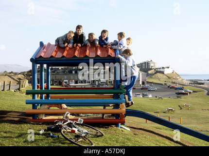 Cumbria Seascale children playing in village near Sellafield Thorp nuclear reprocessing plants - Stock Photo