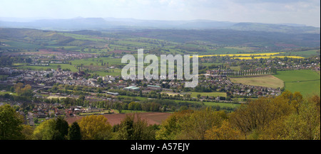UK South Wales Gwent Monmouth view north from The Kymin panoramic - Stock Photo