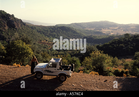 TURKEY Jeep in the hills above Fethiye near the Turquoise Coast - Stock Photo