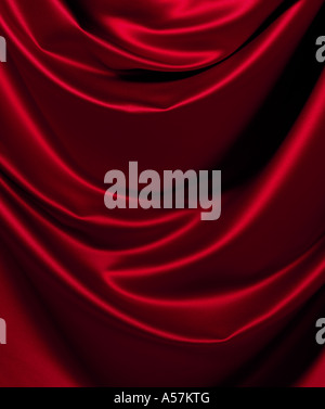 A piece of following red Satin, ideal as a background or backdrop - Stock Photo