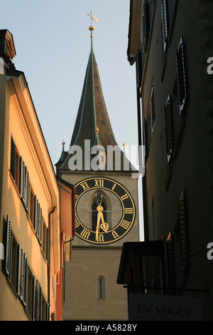 The largest clock hands of Europe are mounted on the clock wall of St. Peter Church, Zurich, Switzerland - Stock Photo