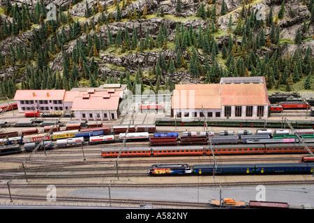 Model of the train station of Erstfeld at the Gotthard railway model, Museum of Transport, Lucerne, Switzerland - Stock Photo