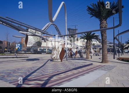 Parc Diagonal Mar Barcelona Spain new urban park designed by EMBT 2002 including ceramic tilework - Stock Photo