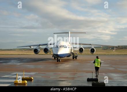Commercial Passenger jet BAE 146-300 at Inverness Dalcross Airport.  XAV 4880-457 - Stock Photo