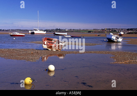 Moored small Leisure boats. River Exe at Exmouth. Devon.  XPL 4804-451 - Stock Photo