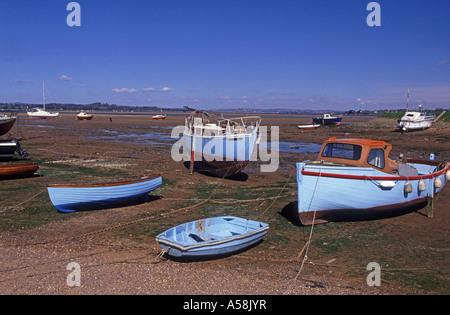 Moored small pleasure boats. River Exe at Exmouth. Devon.  XPL 4805-451 - Stock Photo