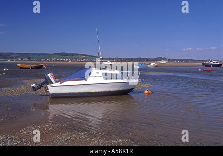 Moored small boats. River Exe at Exmouth. Devon.  XPL 4806-451 - Stock Photo