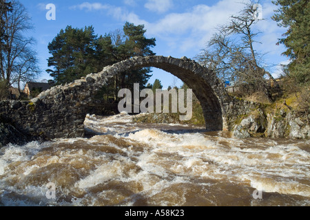 dh  CARRBRIDGE INVERNESSSHIRE Old horse single span packhorse bridge over Dulnain River rapids full spate - Stock Photo